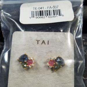 TAI ROCK CRYSTAL STUD WITH DELICATE CZ ACCENTS